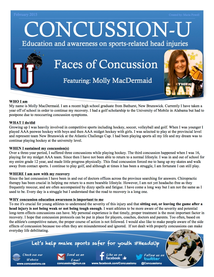 ConcussionU blog Molly MacDermaid