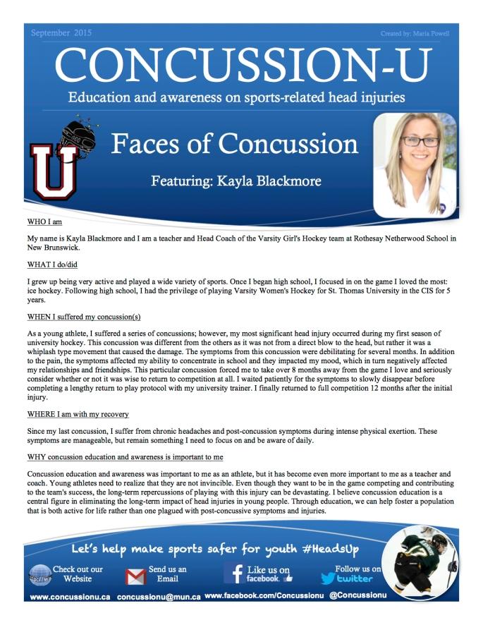 ConcussionU Blog Kayla Blackmore